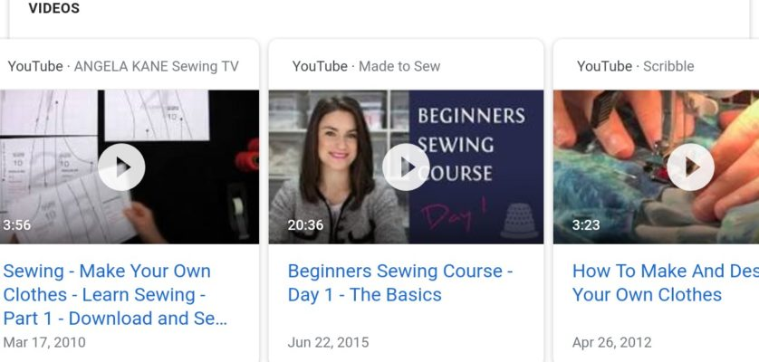 Sewing videos